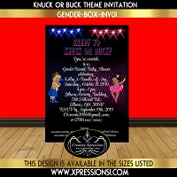 Knuck or Buck with Slippers Gender Reveal Invitation