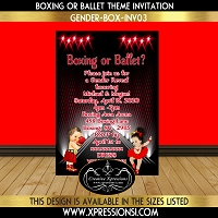 Boxer or Ballerina Gender Reveal Invitation