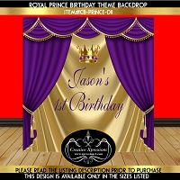 Purple Royal Prince Birthday Backdrop