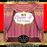Queen Pink Curtains Birthday Backdrop