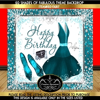 Turquoise Elegance Birthday Backdrop