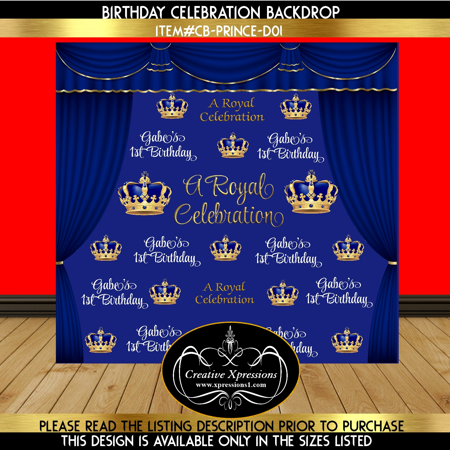 Royal Blue Prince Birthday Backdrop