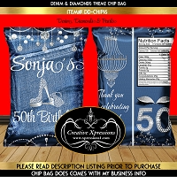 Denim and Diamonds Birthday Chip Bag