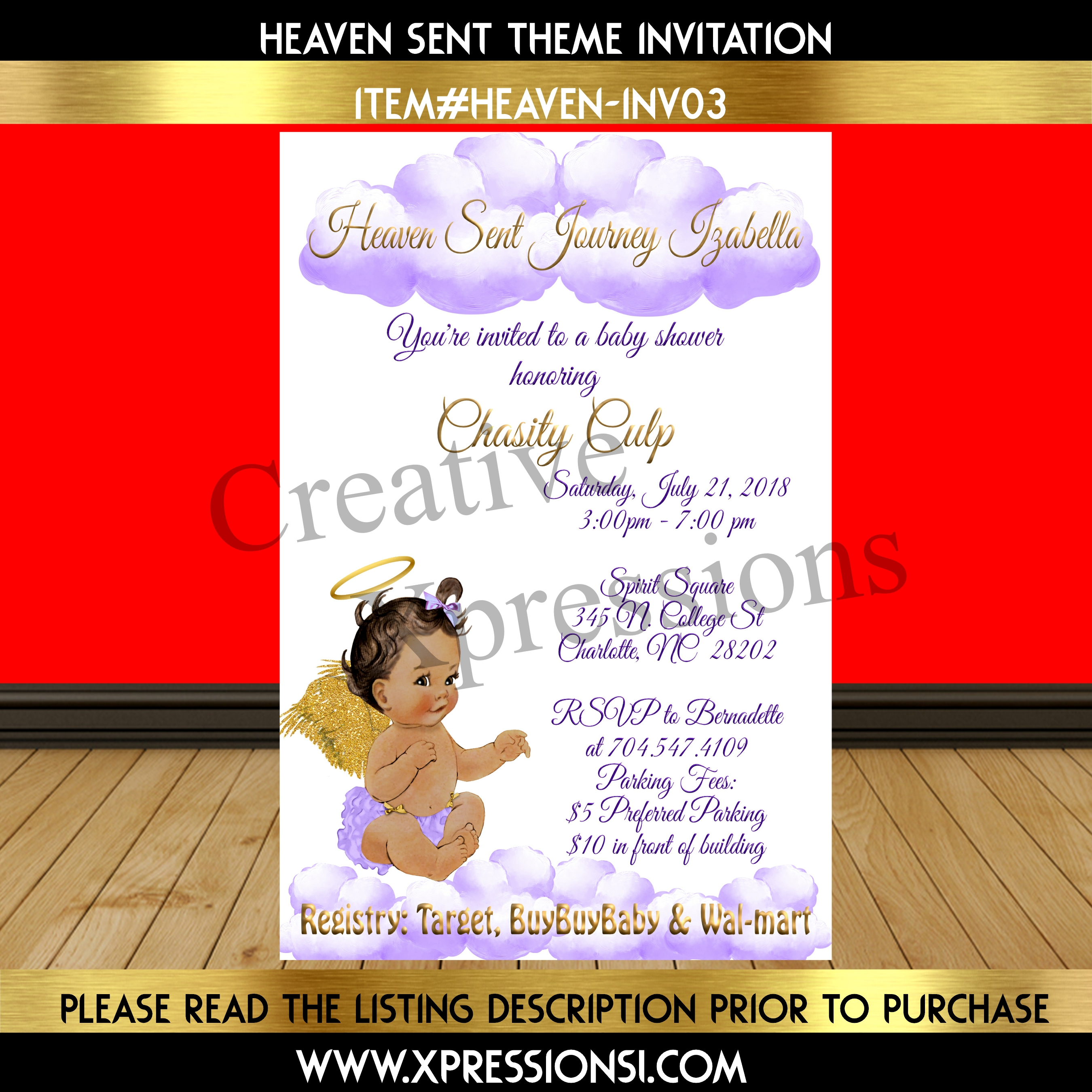 Purple and Gold Heaven Sent Baby Shower Invitation