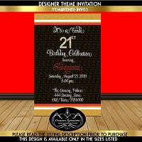 Gold and Red Birthday Invitation