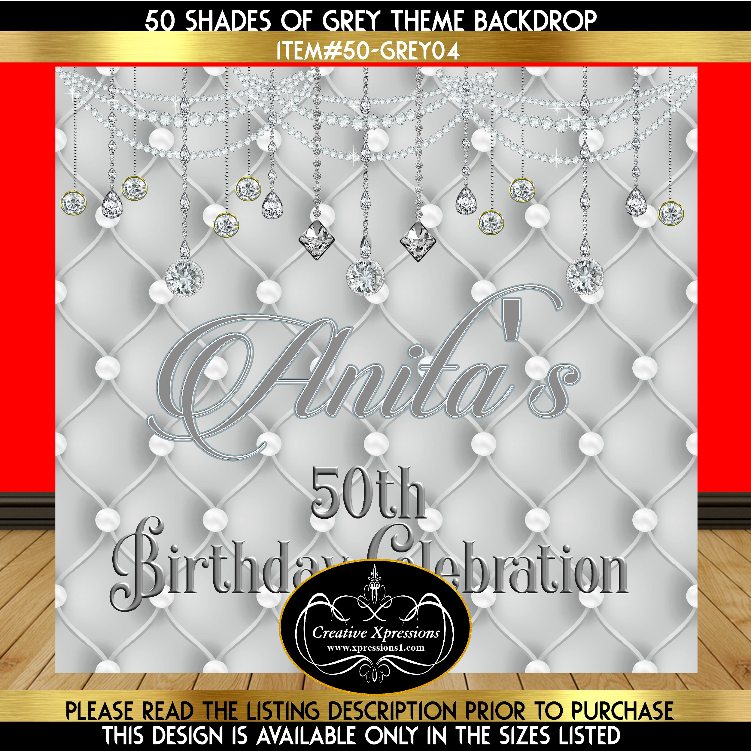 Pearls on Silver Birthday Backdrop