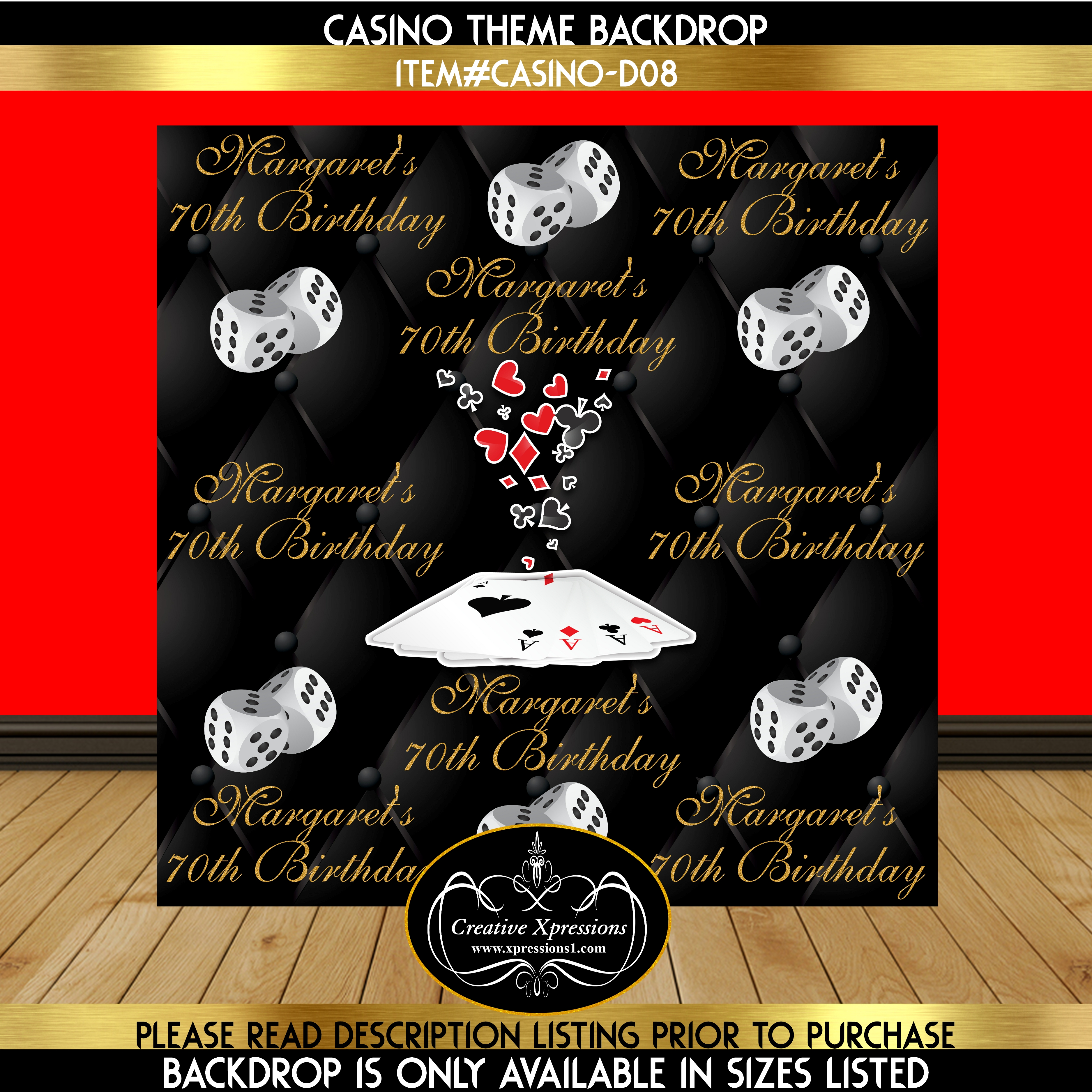 Flying Cards Casino Theme Backdrop