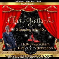 Hollywood Glam Birthday Backdrop  with Photo