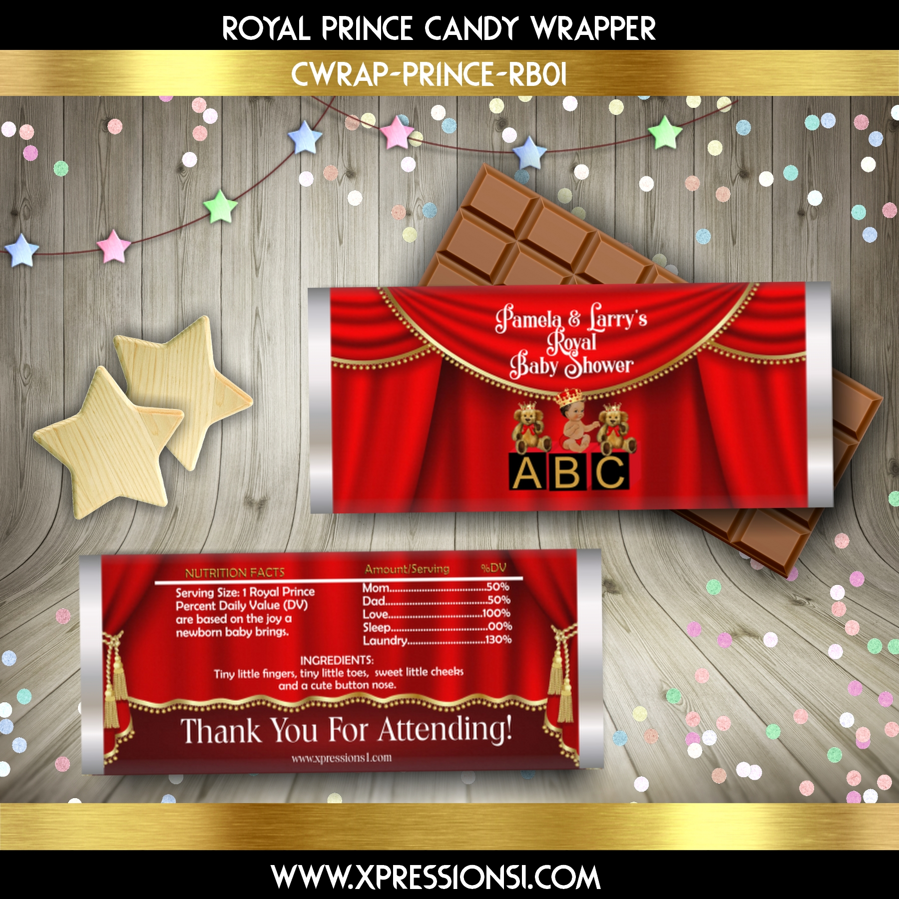 Red and Gold Prince with Baby Blocks Candy Wrapper