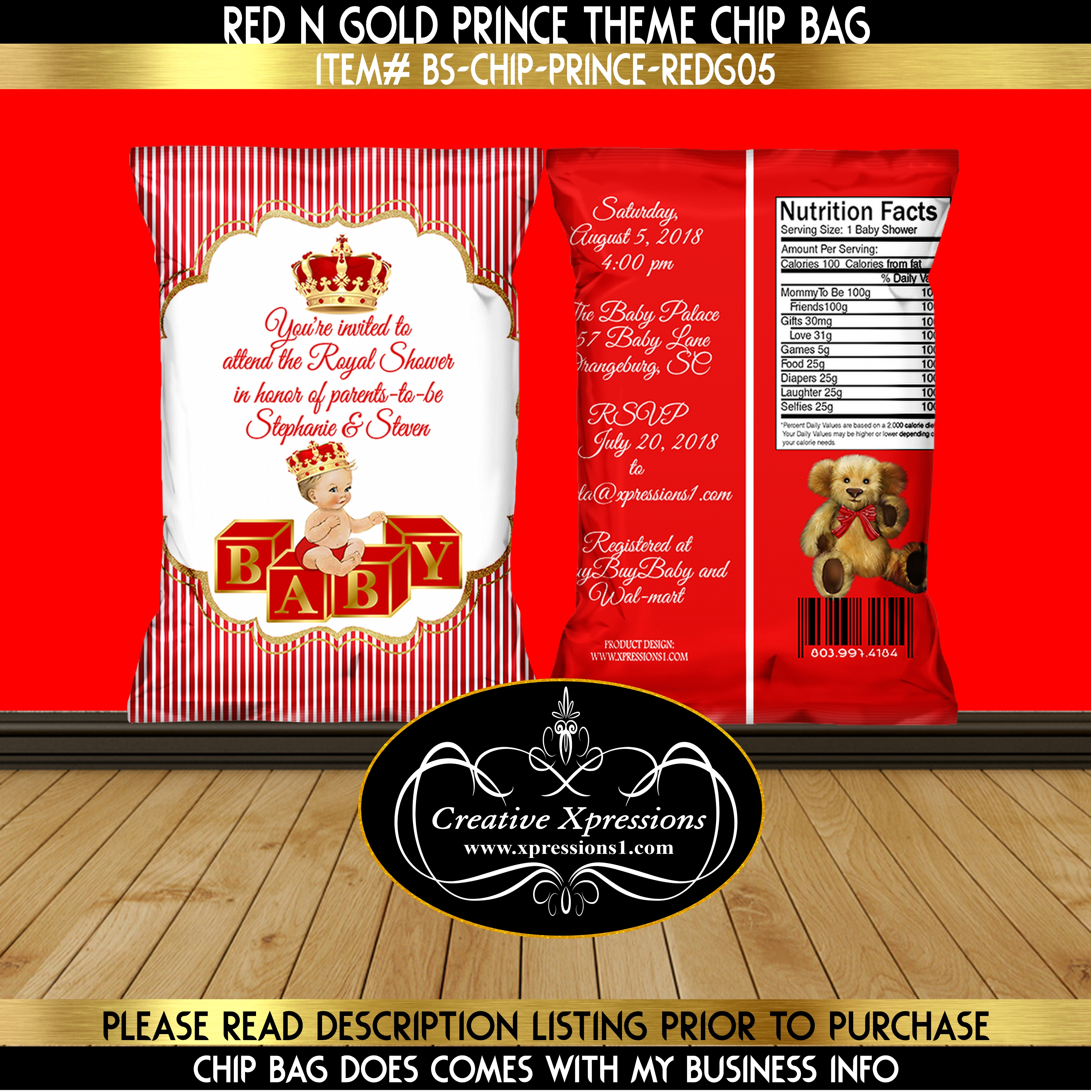 Royal Prince on Block Chip Bag Invitation