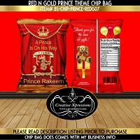 It's A Boy Red and Gold Prince Theme Chip Bag
