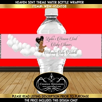 Pink and Silver Heaven Sent Angel Theme Water Bottle Wrapper