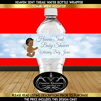 Heaven Sent Silver and Blue Angel Theme Water Bottle Wrapper