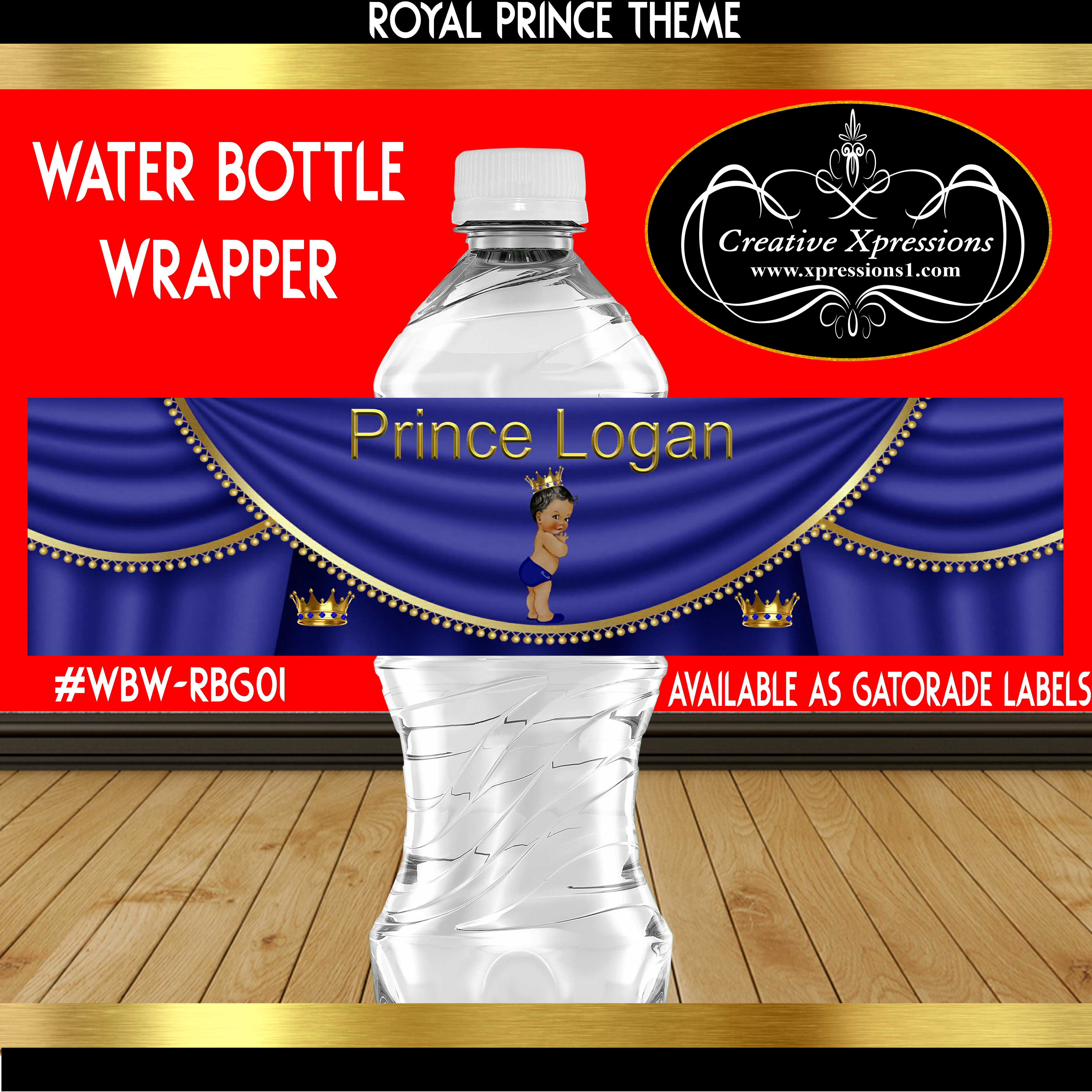 Royal Prince with Crown Water Bottle Wrapper