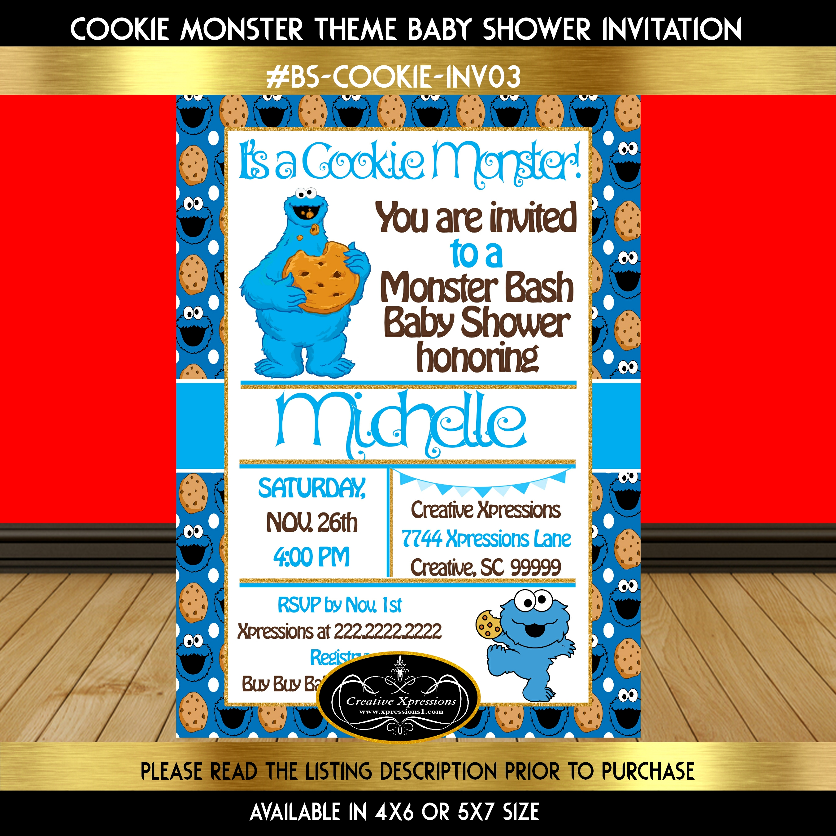 Cookie Monster Baby Shower Invitations | Shilohmidwifery.com