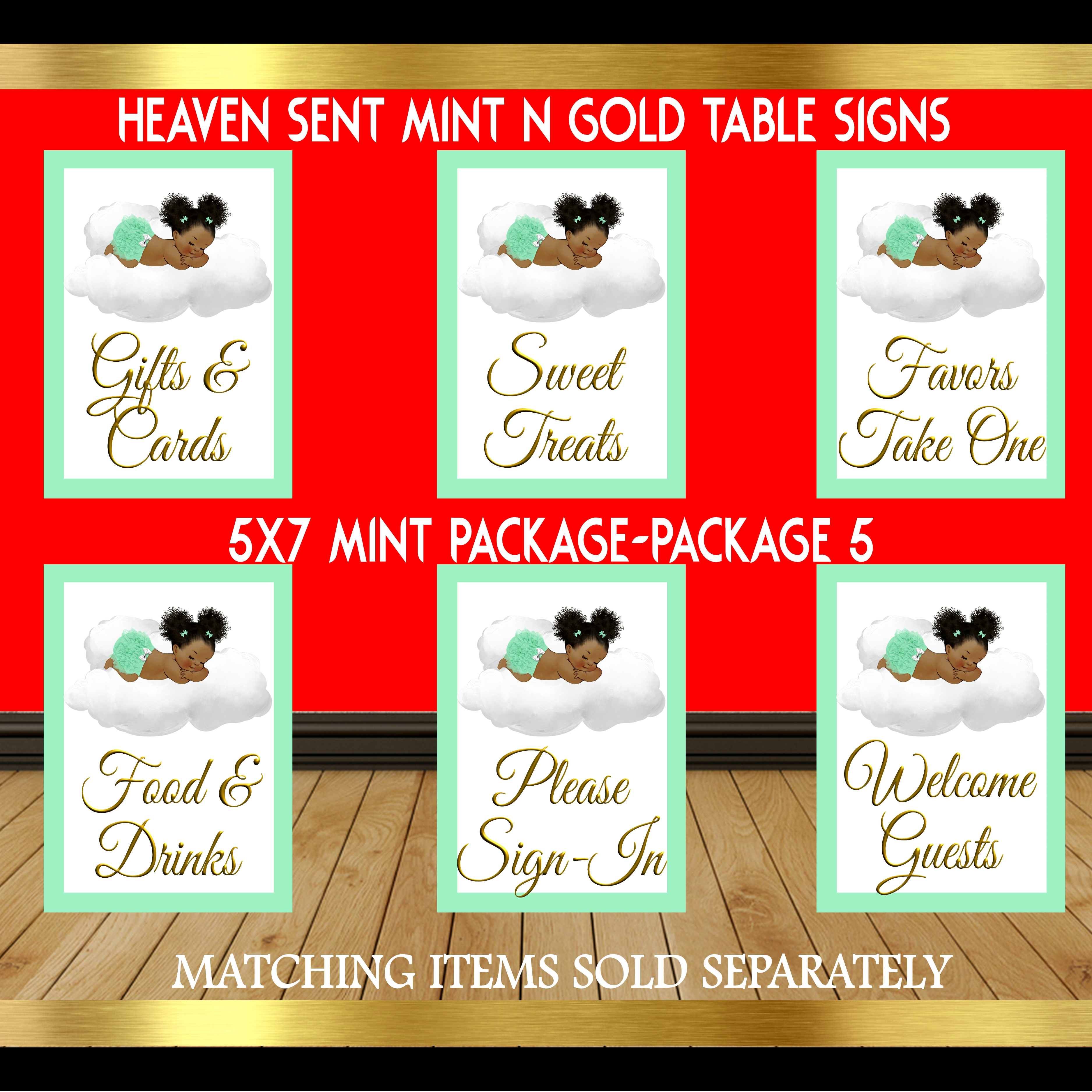 Mint and Gold Table Sign Package 5