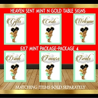Mint and Gold Table Sign Package 4