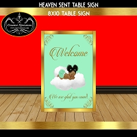 Heaven Sent Welcome Sign with Sleeping Baby