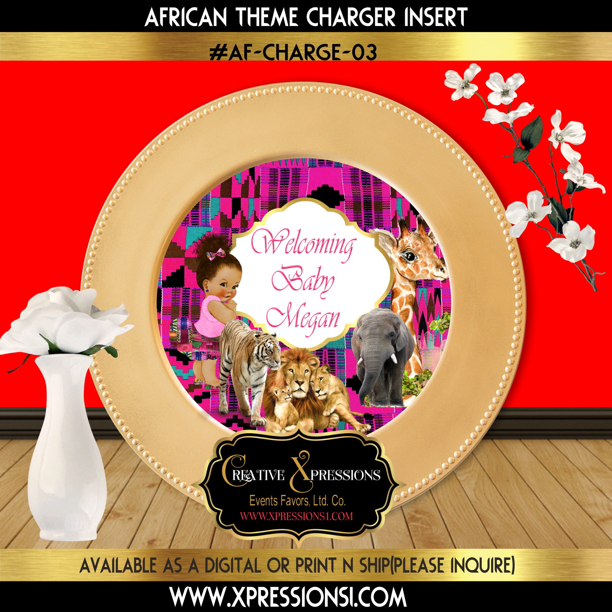 Safari Pink Theme Charger Insert
