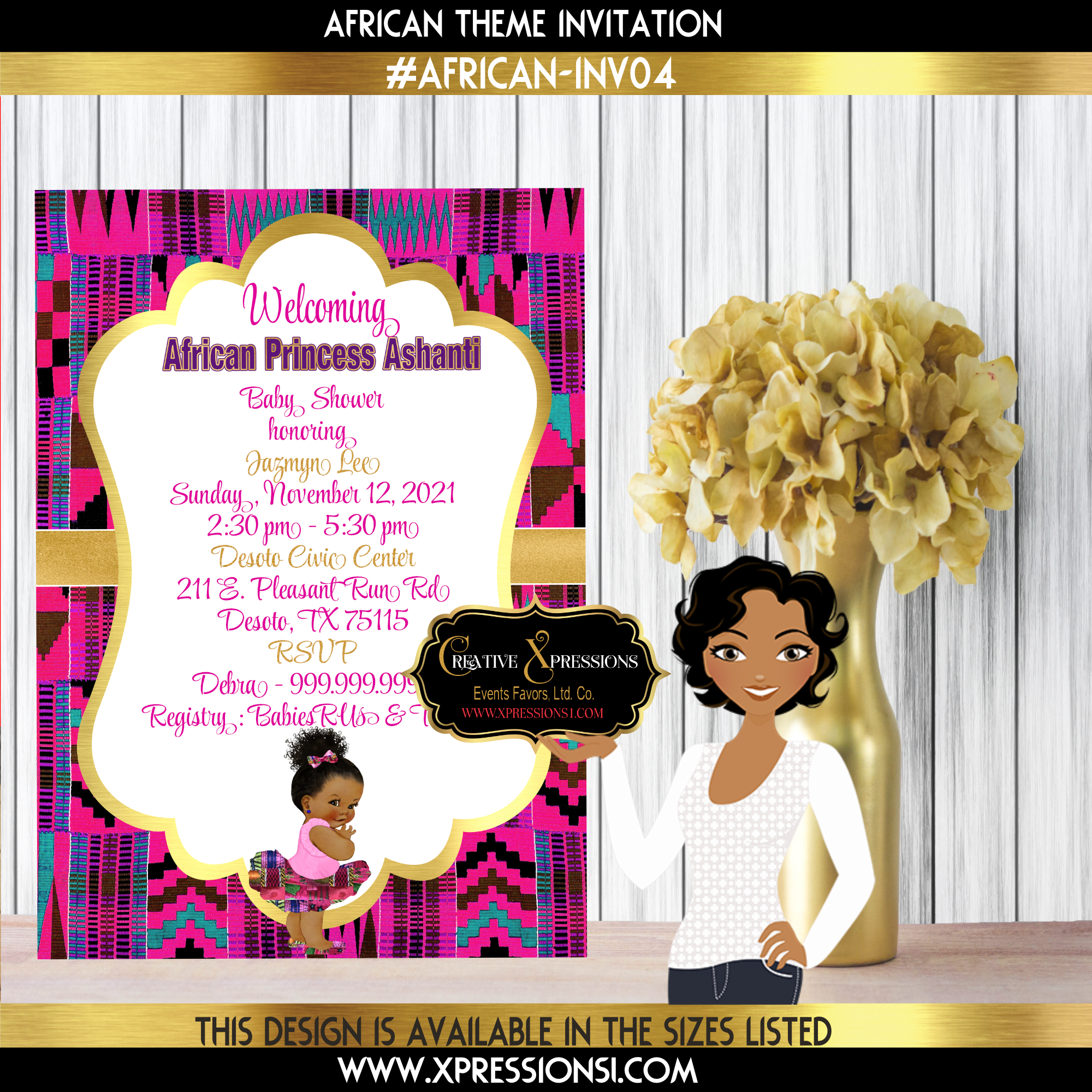 Kente Cloth Ballerina Invitation