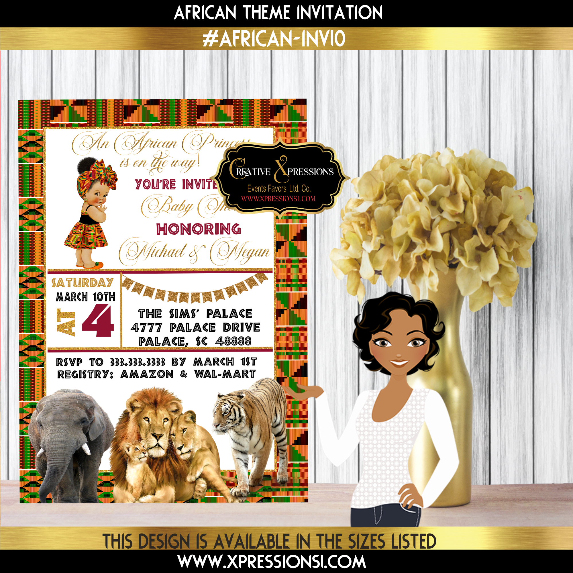 Safari on Kente Invitation