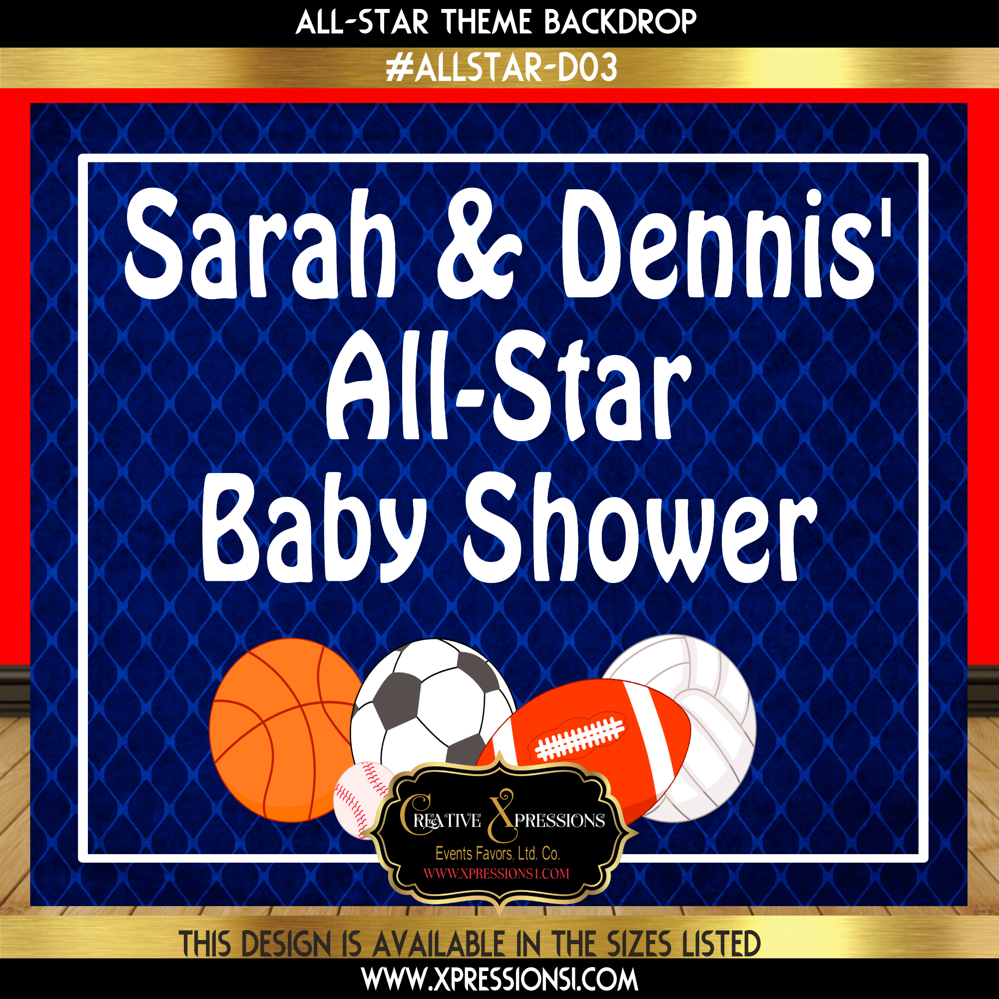All-Star Baby Shower Backdrop