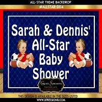 All Star Baby Shower Backdrop