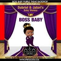 Purple Royal Stage Boss Baby Backdrop