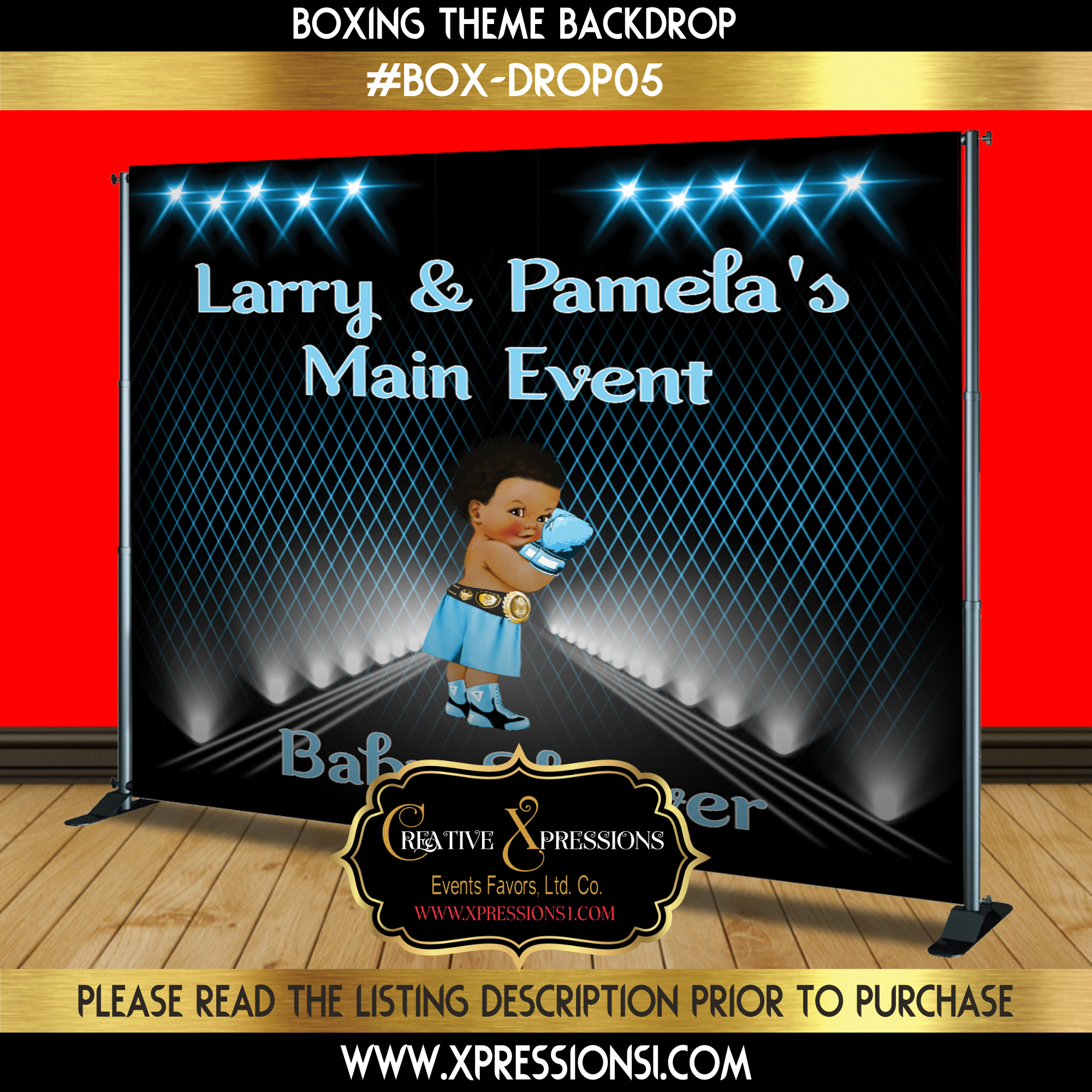 Baby Blue Boxing Backdrop