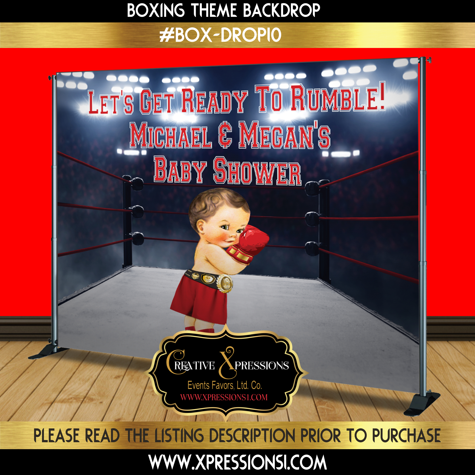 Boxer Boxing Champ Sports Baby Shower Red Gold Black Blue Backdrop Banner 4x4 Foot Printable PDF Instant Download