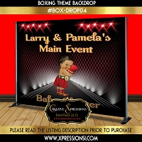Red Boxing with Glitter Gold Backdrop