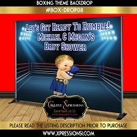 Boxing Champ in Blue Backdrop