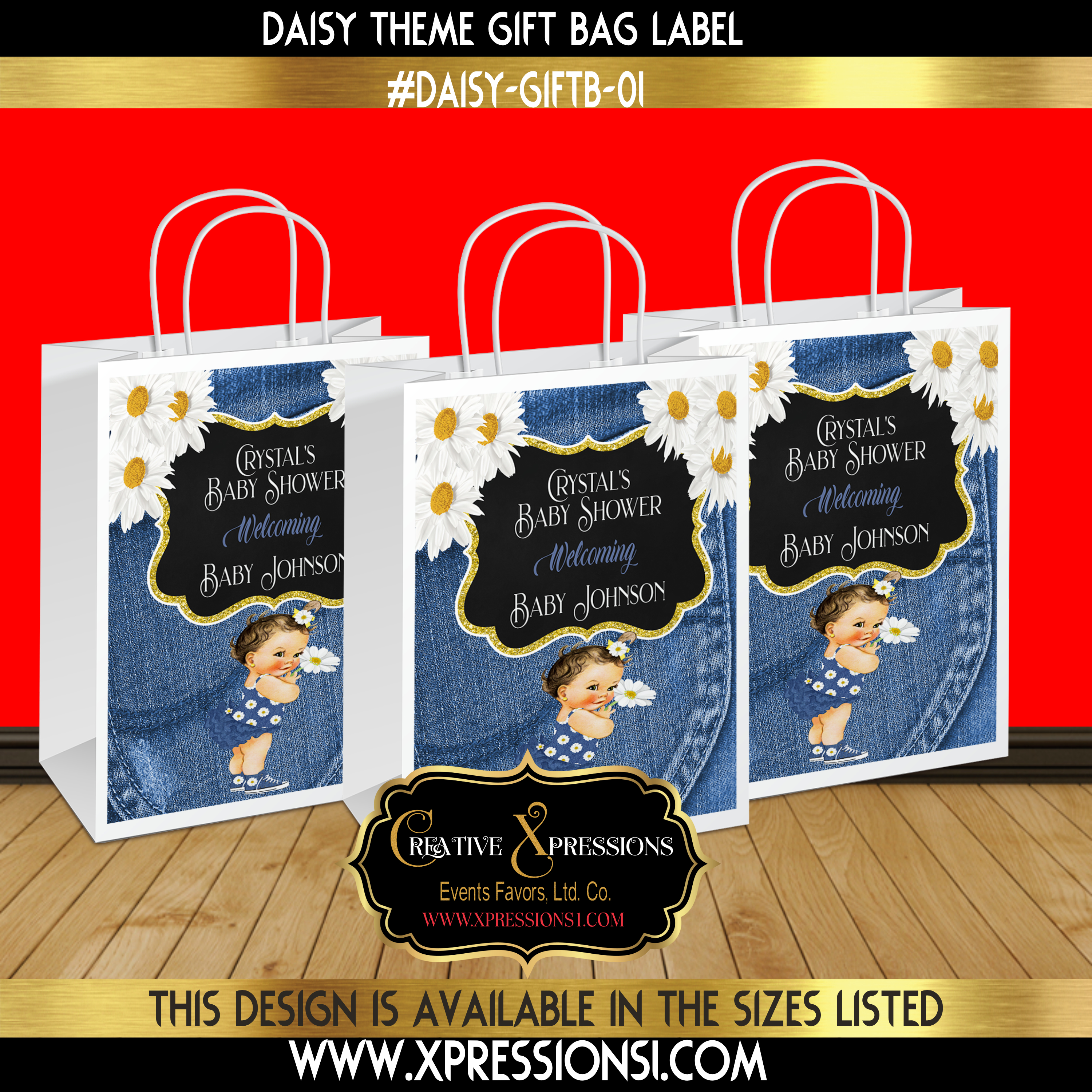 Daisy and Denim Gift Bag Label