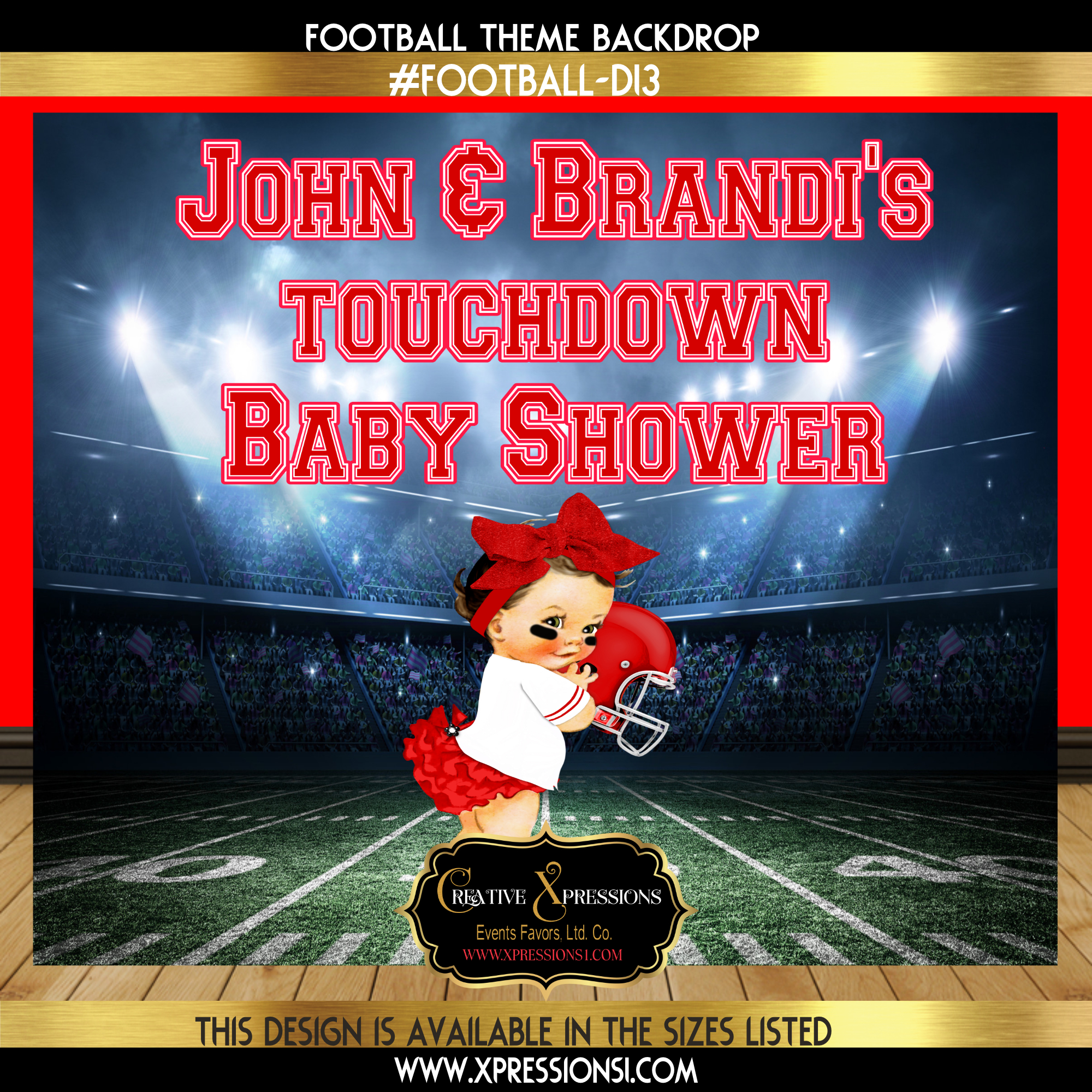 Girl Power Red Touchdown Backdrop