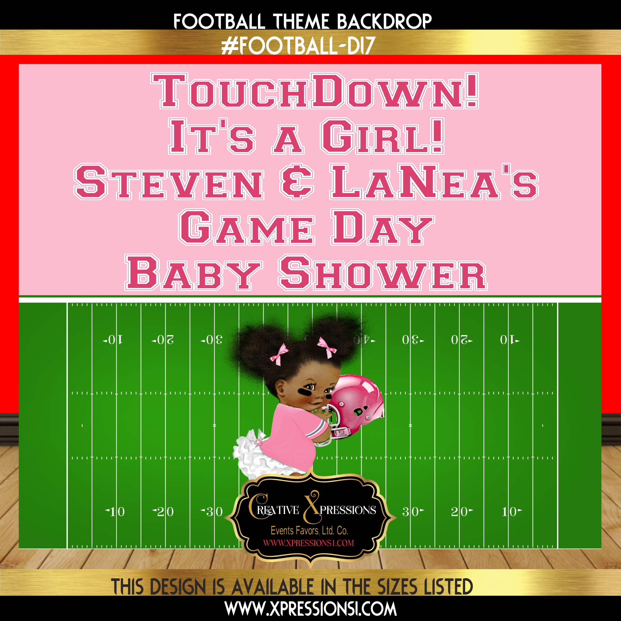Touchdown on Pink Baby Shower Backdrop