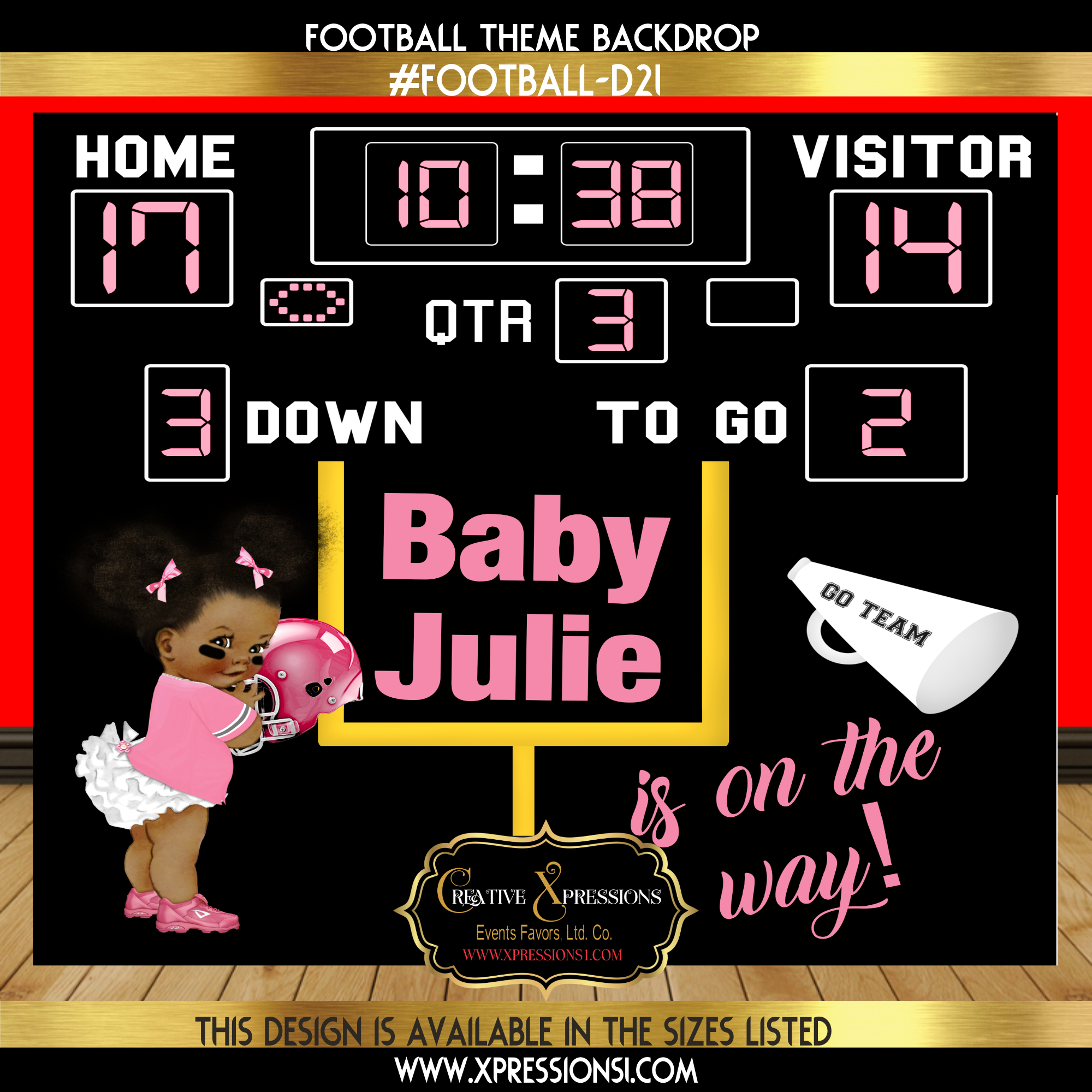 Light Pink Baby Shower Football Backdrop