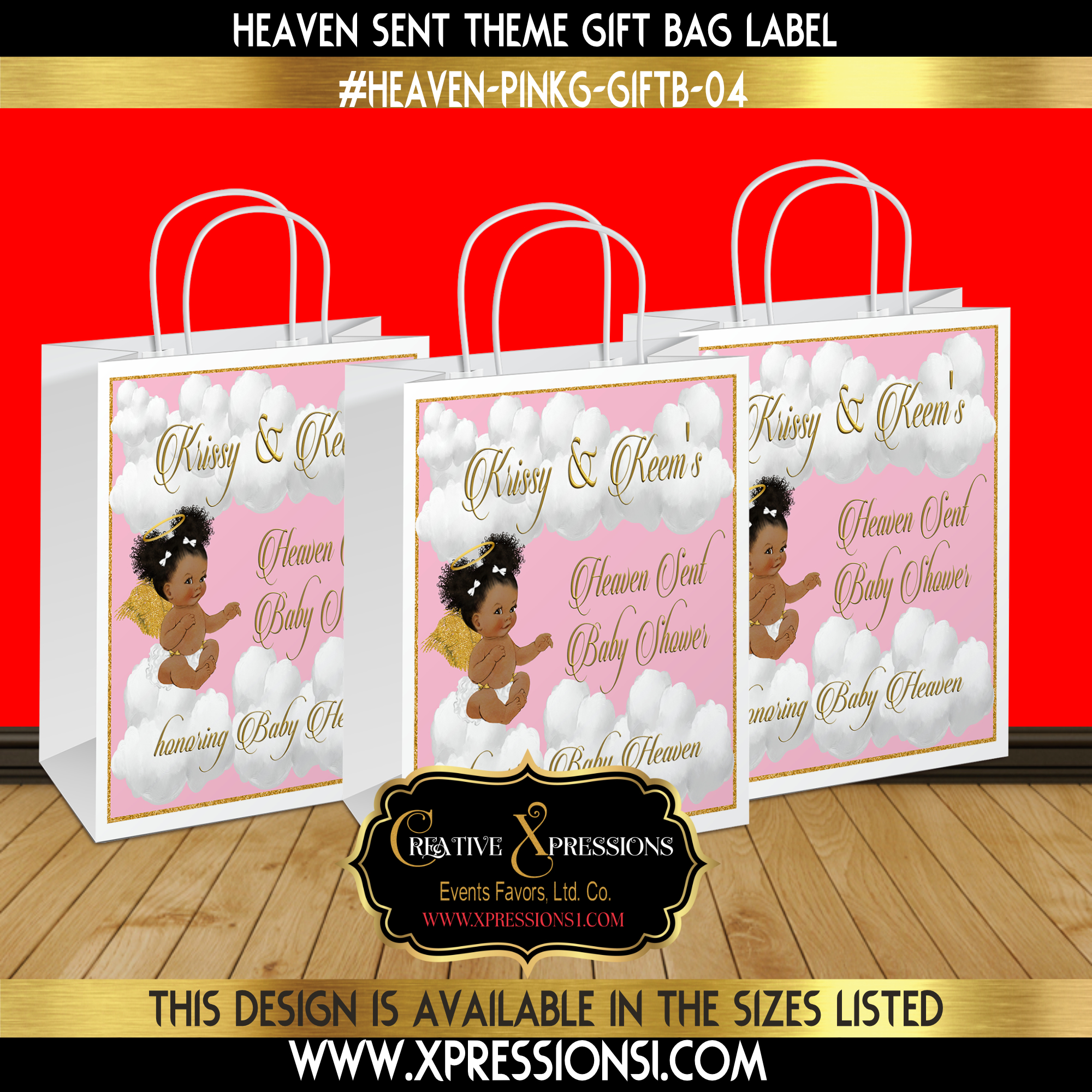 Pink and Glitter Gold Gift Bag