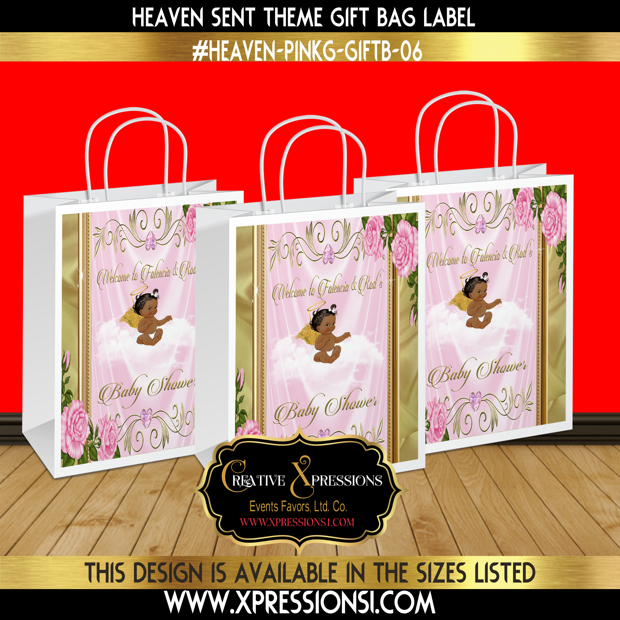 Florals on Frame Gift Bag Label
