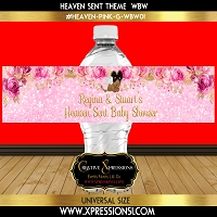 Pink and Gold Florals Water Bottle Wrapper