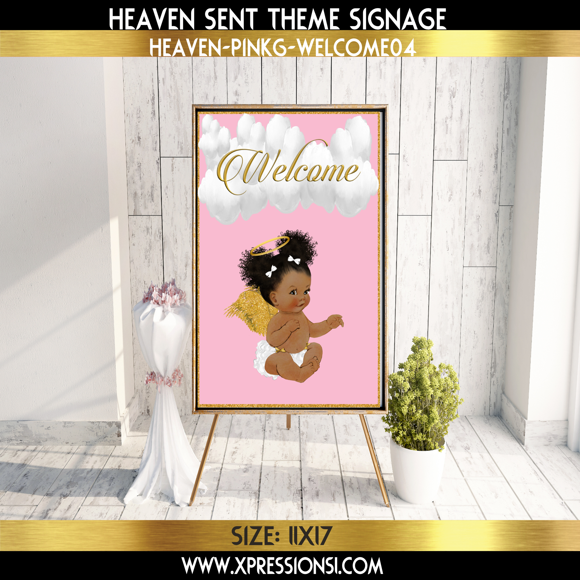 Pink and Gold Welcome Sign