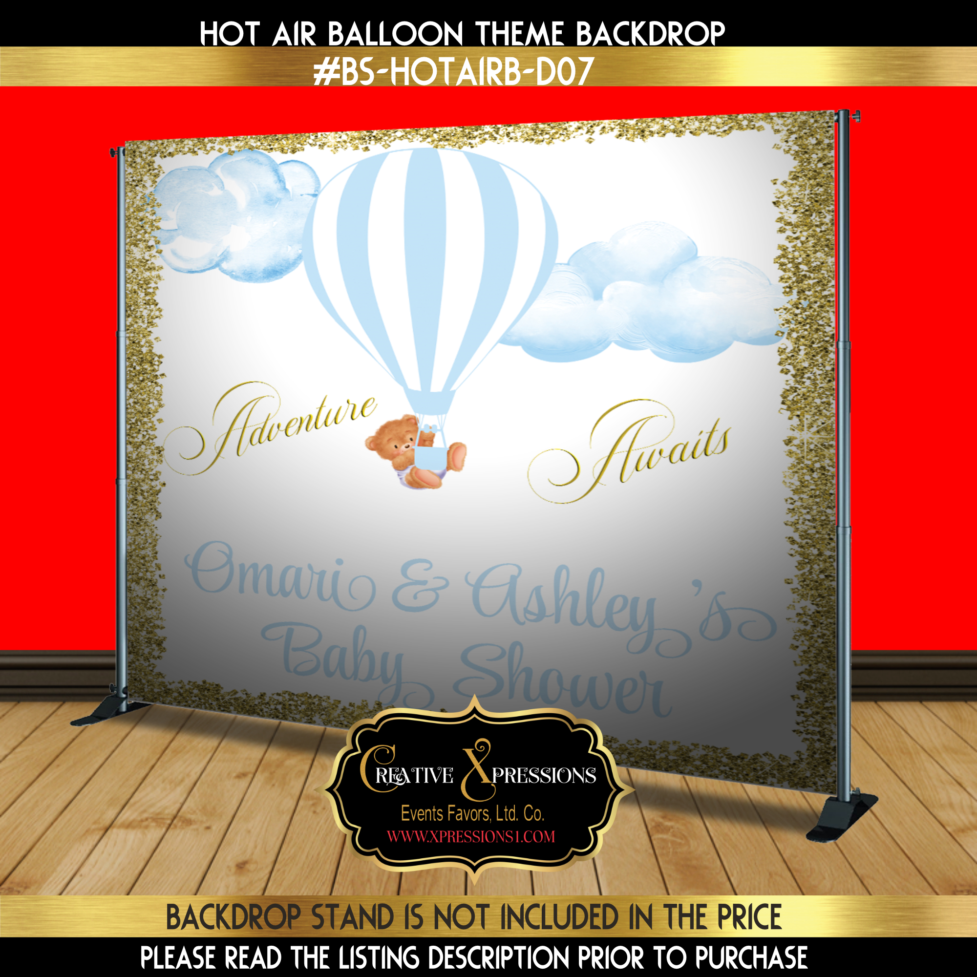 Baby Blue and Gold Hot Air Balloon Backdrop