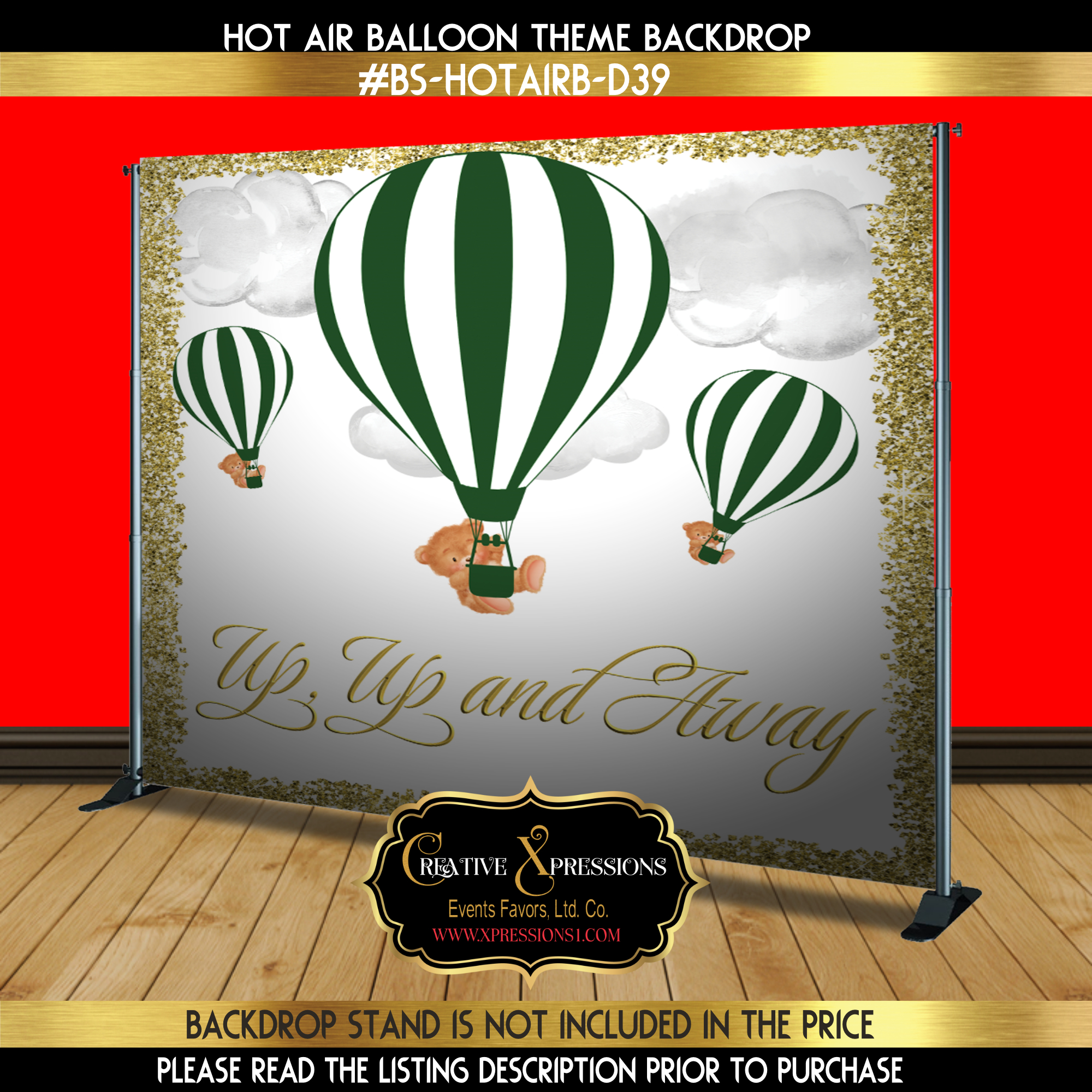 Green and Gold Hot Air Balloon Backdrop 2