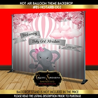 Pink Hot Air Balloon with Elephant Backdrop