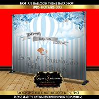 Blue Florals Hot Air Balloon Backdrop