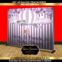 Purple Florals Hot Air Balloon Backdrop