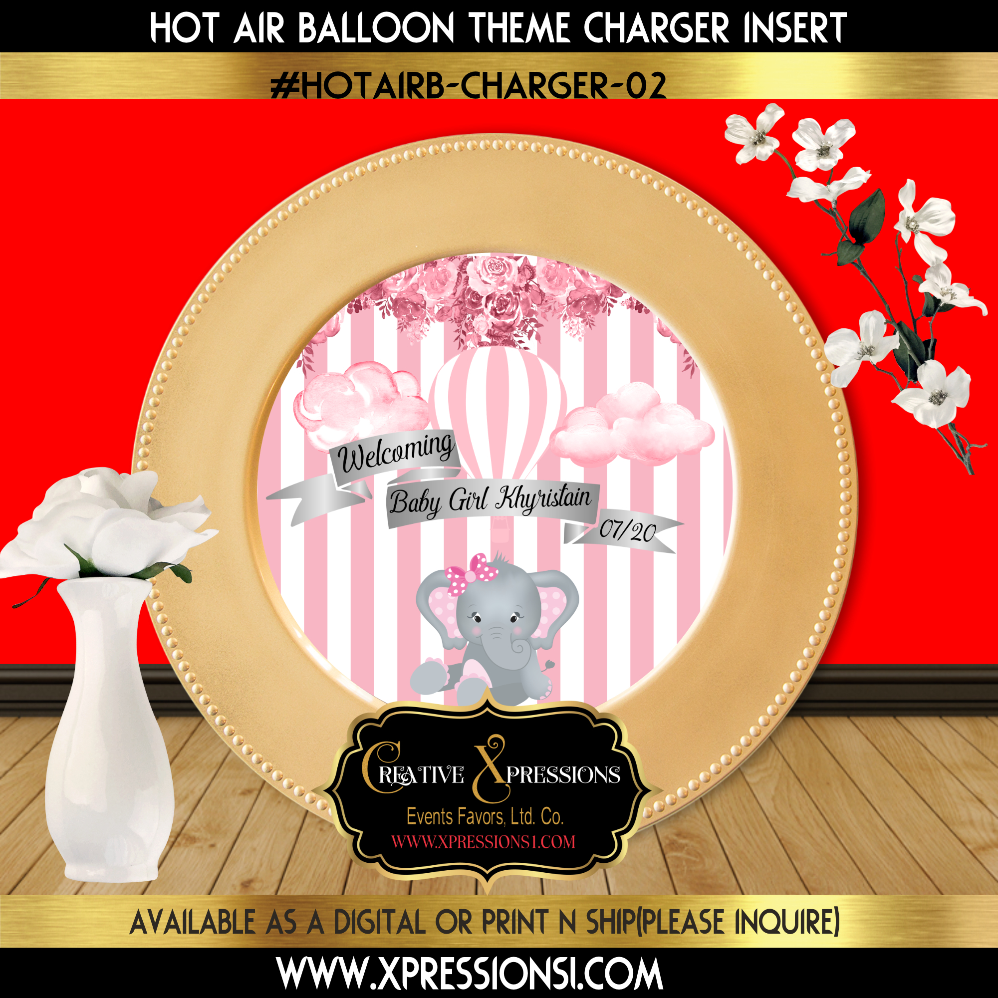 Pink Hot Air Balloon with Elephant Charger Insert