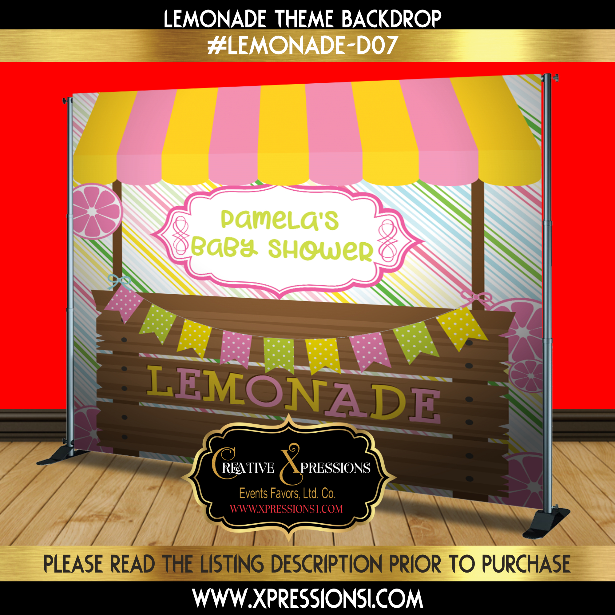 Lemonade Stripes Baby Shower Backdrop