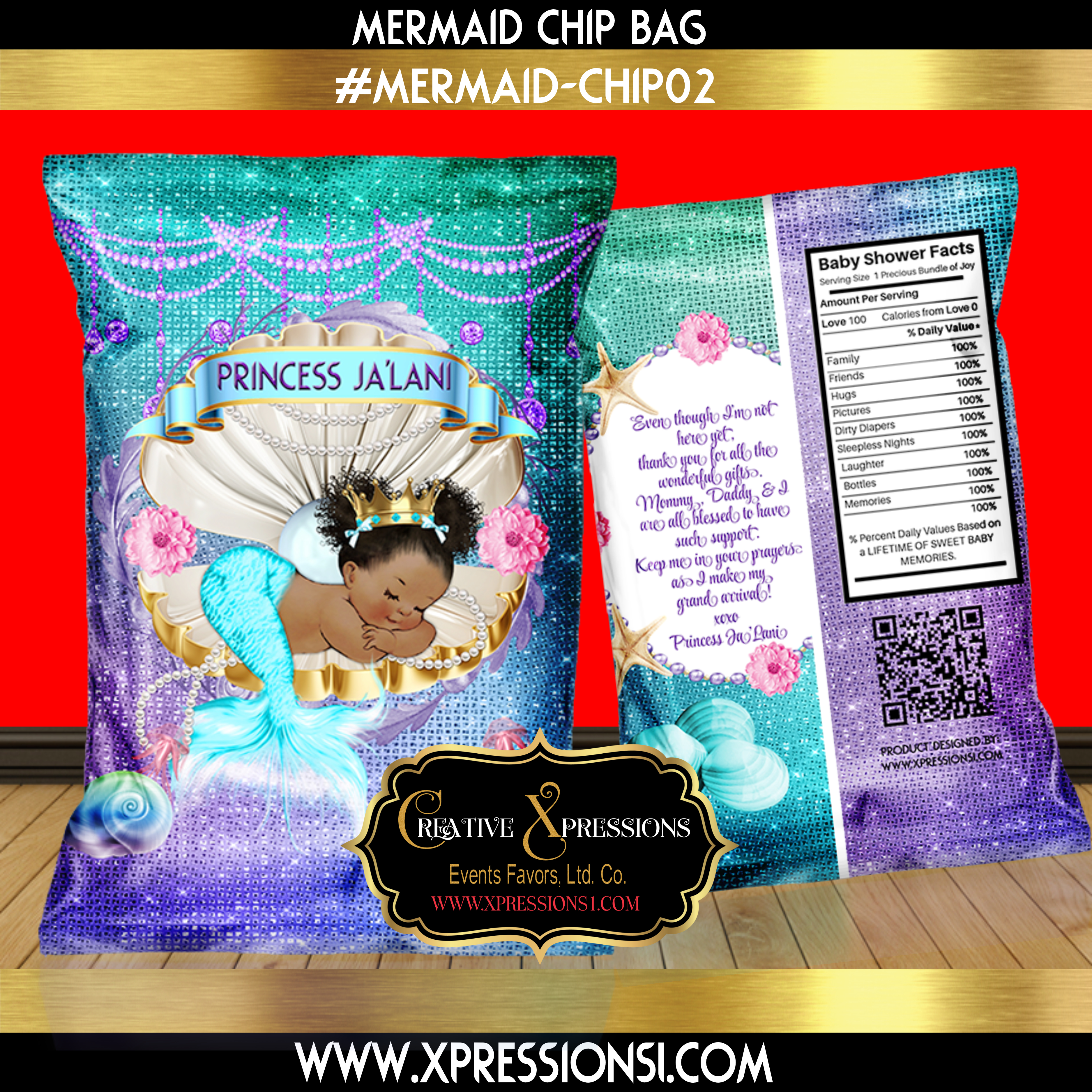 Turquoise and Purple Mermaid Chip Bag