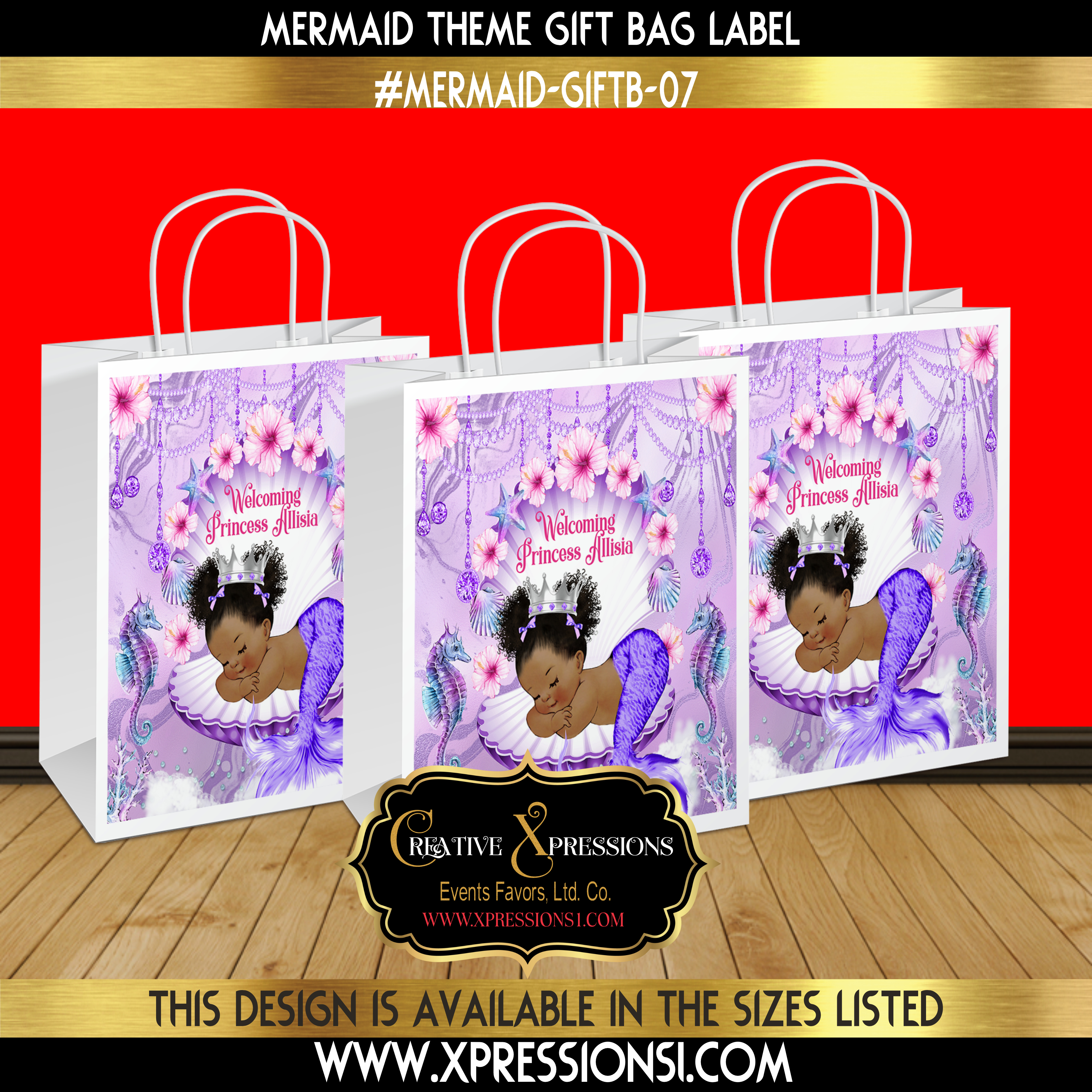 Lavender Marble Gift Bag Label