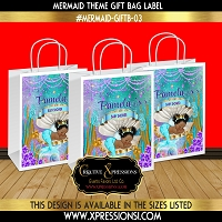 Purple and Turquoise Mermaid Gift Bag Label